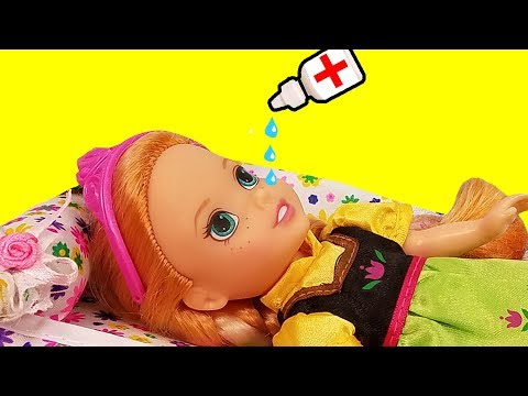 Thumbnail: RUNNY NOSE ! Elsa & Anna toddlers - Little Anna is Sick - Afraid of Nose Drops - Sneezing