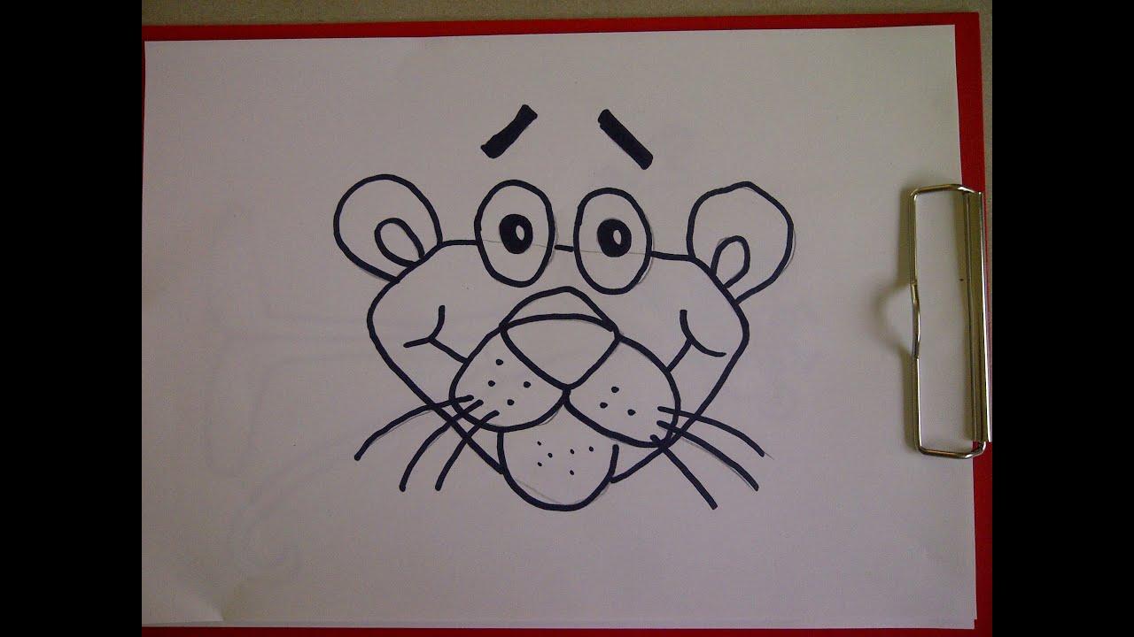 C mo dibujar la pantera rosa como hacer un dibujo para - Como hacer dibujos en la pared ...