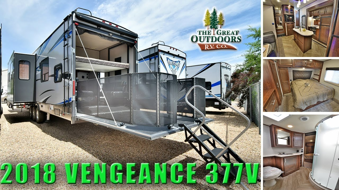 2018 toy hauler rv vengeance 377v fifth wheel patio deck colorado dealer