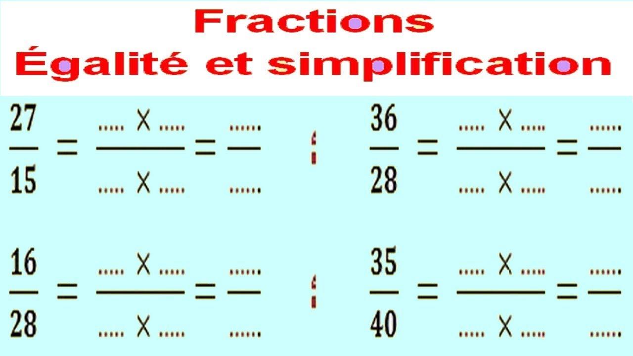 Maths 6ème - Fractions égalité et simplification Exercice ...