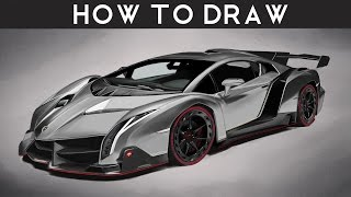 HOW TO DRAW a Lamborghini Veneno - Step by Step | Realistic | drawingpat