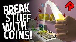BREAK STUFF WITH COINS gameplay: Silly physics game for tossers! (PC Early Access)