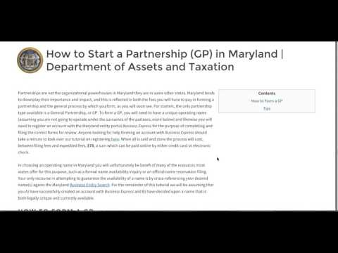 How to Start a Partnership GP in Maryland | Department of Assets and Taxation