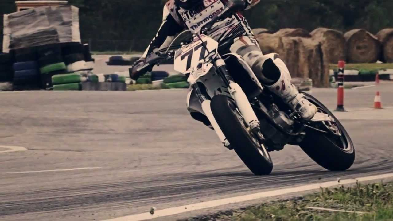 Supermoto Sliding in Slow Motion [HD]