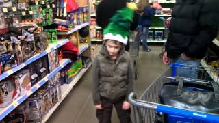 Jacob with Dancing Christmas Tree Hat at Wal-mart
