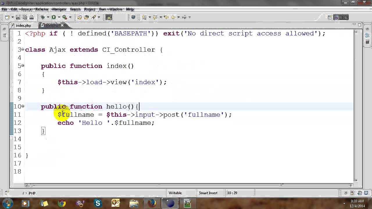 Ajax with jQuery and CodeIgniter