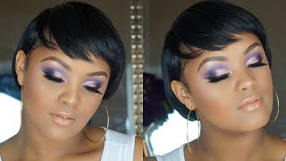 EASY PURPLE GLITTER CUT CREASE For Beginners