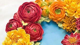 Cách bắt hoa Mao Lương bằng kem Topping - How to pie Rannuculus flowers by topping cream