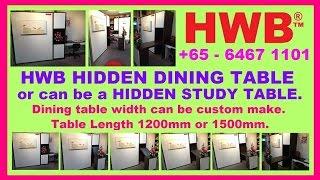 Hwb™ Hidden Dining Table + Hidden Study Table. Hide Awaytable. Hdb Hub Showflat With Wall Bed