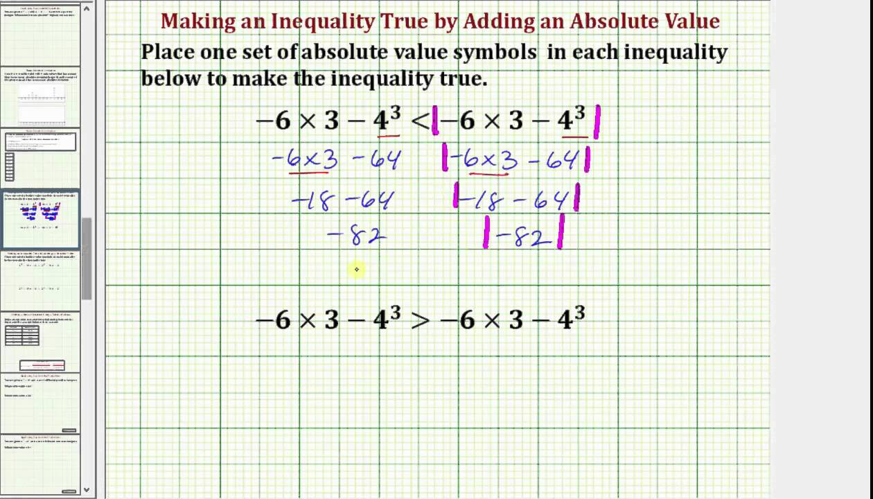 Add Absolute Value Symbols To Make An Inequality True Common Core