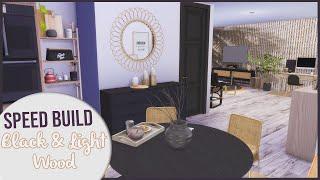 The Sims 4 Speed Build | BLACK \u0026 LIGHT WOOD APARTMENT + CC Links