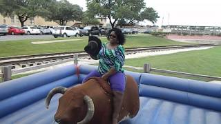 Hilarious Lady riding a mechanical bull!