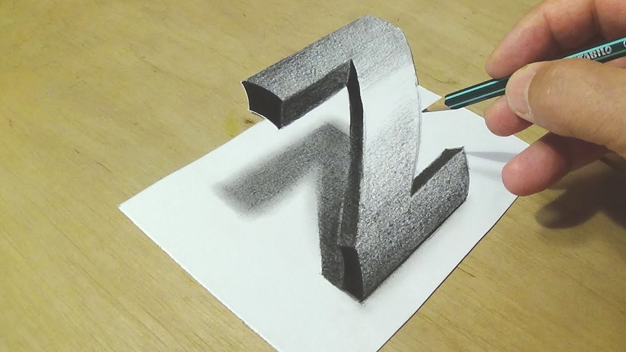 Drawing 3D Letter - How to Draw Letter Z - Trick Art with Graphite ...