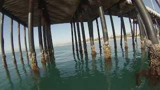 GoPro camera under water at San Clemente Pier California.