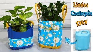 Organizadores -Cachepot para flores – Reaproveitando galão de 5 litros.