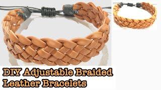DIY LEATHER BRACELETS  | Adjustable | Braided | Leather | Bracelets | How To Make Leather Bracelets