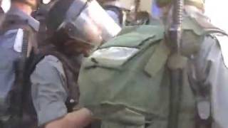 Brave israeli soilder head butts little palesine woman
