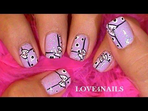 Bows N Dots Lavender Short Nail Art Design Tutorial Youtube
