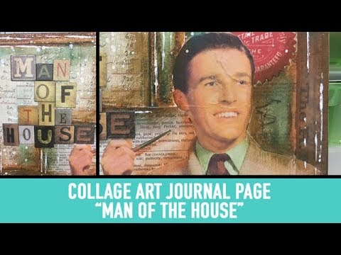 Collage Art Journal Page with Distress Crayons - House