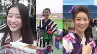 8月7日、2011Jリーグ特命PR部女子マネの足立梨花さんが万博記念競技場を...