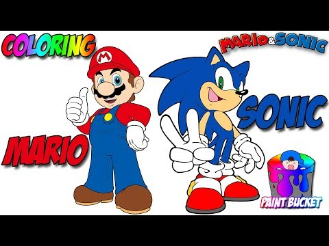 How to Color Super Mario and Sonic the Hedgehog - Mario and Sonic Coloring Book Pages for Kids