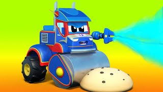 Truck cartoons for kids -  Super STEAMROLLER to the rescue - Super Truck in Car City