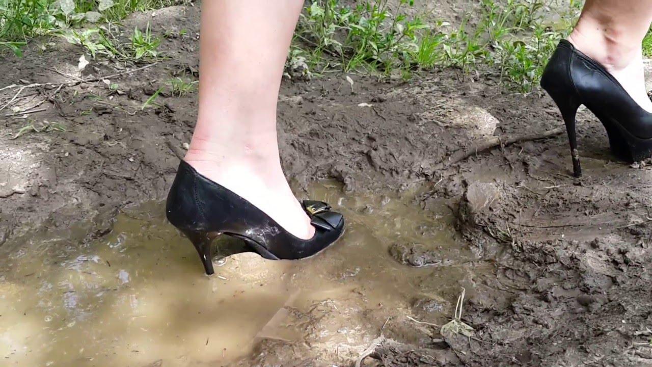 Muddy and wet high heels