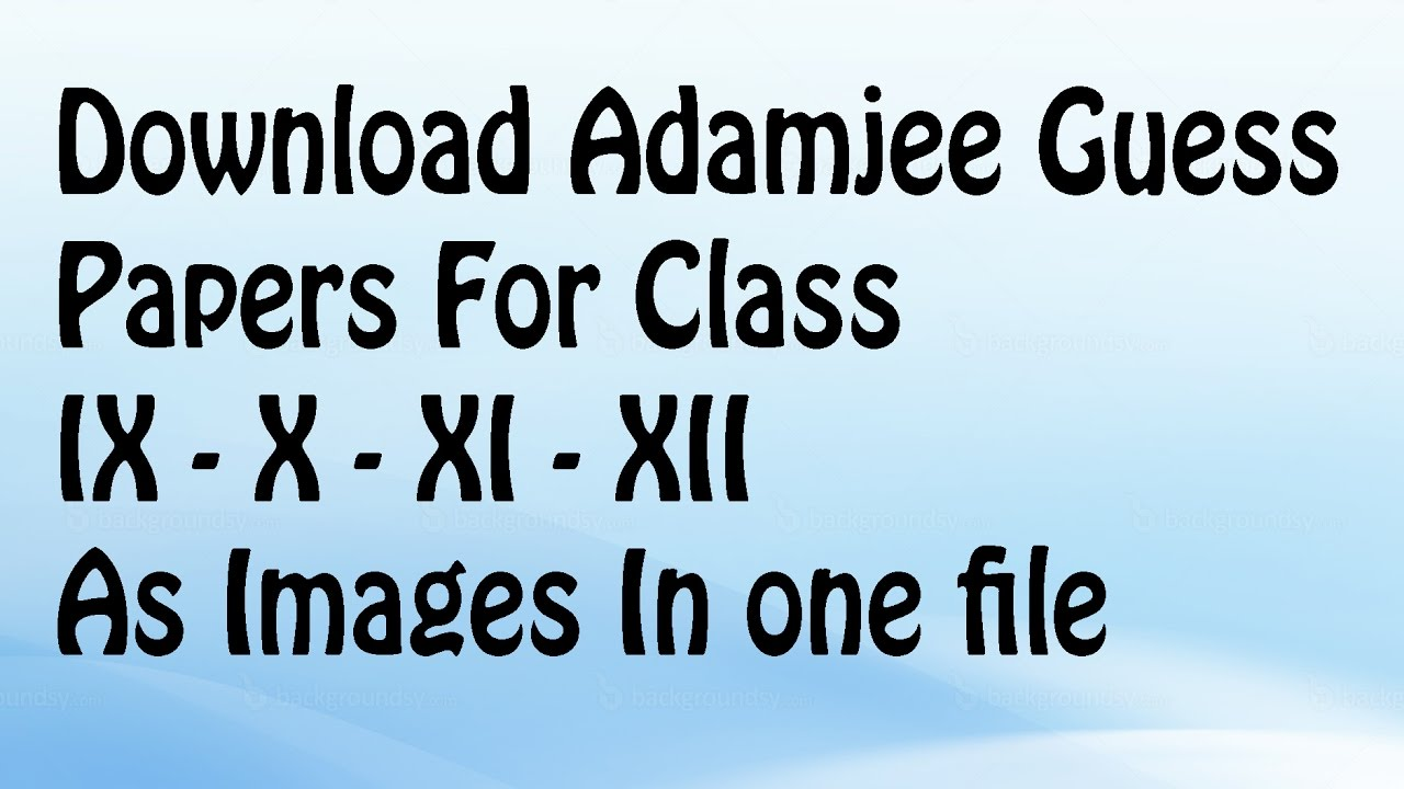 Download Adamjee Guess Papers For 9th-10th-11th-12th | Sindh Board | 2019