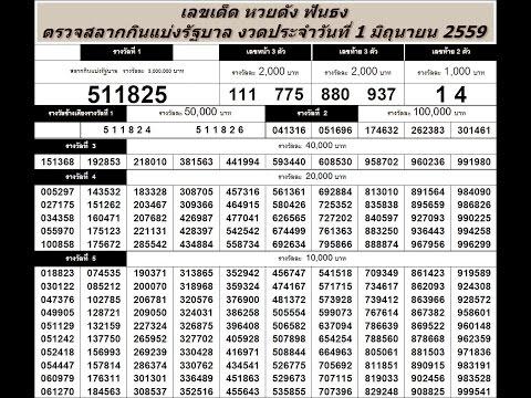 ตรวจหวย 1/6/59 ตรวจสลากกินแบ่งรัฐบาล วันที่ 1 มิถุนายน 2559