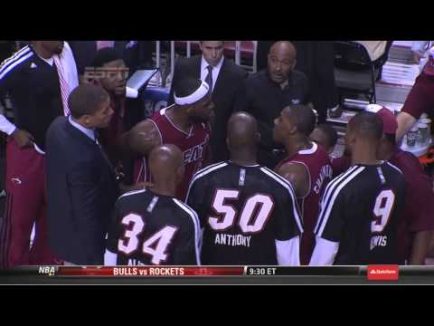 Lebron James gets in Mario Chalmers face on the sideline Heat-Pacers 12-18-11-13