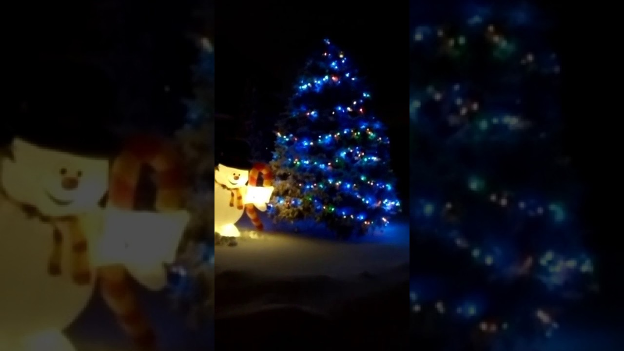 Christmas tree with snow and lights e evenly spread threw out the