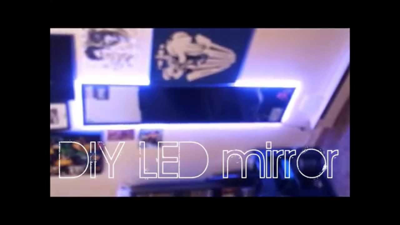 DIY LED mirror under  16   YouTube. Lighted Vanity Mirror Diy. Home Design Ideas