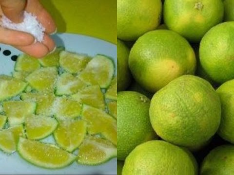Put a Green lemon with salt on a plate, and watch what happens !!
