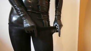 Repeat youtube video Dressed black pantyhose encasement over latex catsuit
