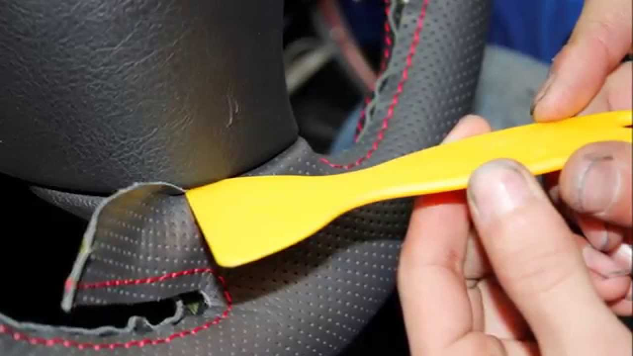 peugeot 307 genuine leather steering wheel cover install - youtube