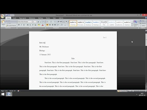 Microsoft Word: How to Set Up MLA Format 2015