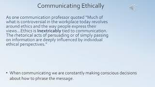 Ethical communication in the business world
