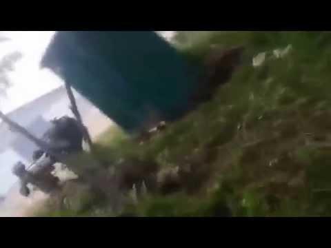 Ukraine Slavyansk, Peaceful Terrorists are shooting anti tank gun. Сепаратисты в славянске