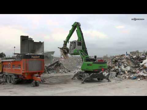 SENNEBOGEN 821 and 818 Material Handlers sorting waste and feeding Doppstadt shredder, Sweden