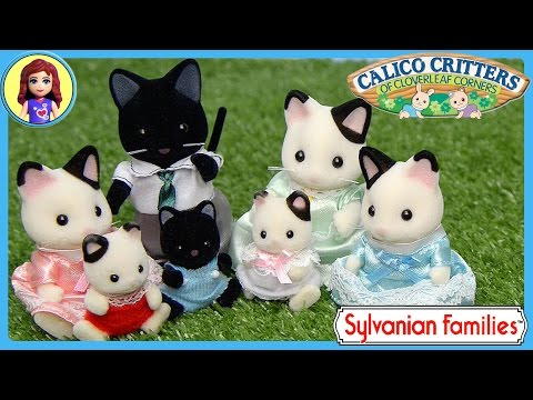 Sylvanian Families Calico Critters Tuxedo Cat Family Unboxing Review Play - Kids Toys