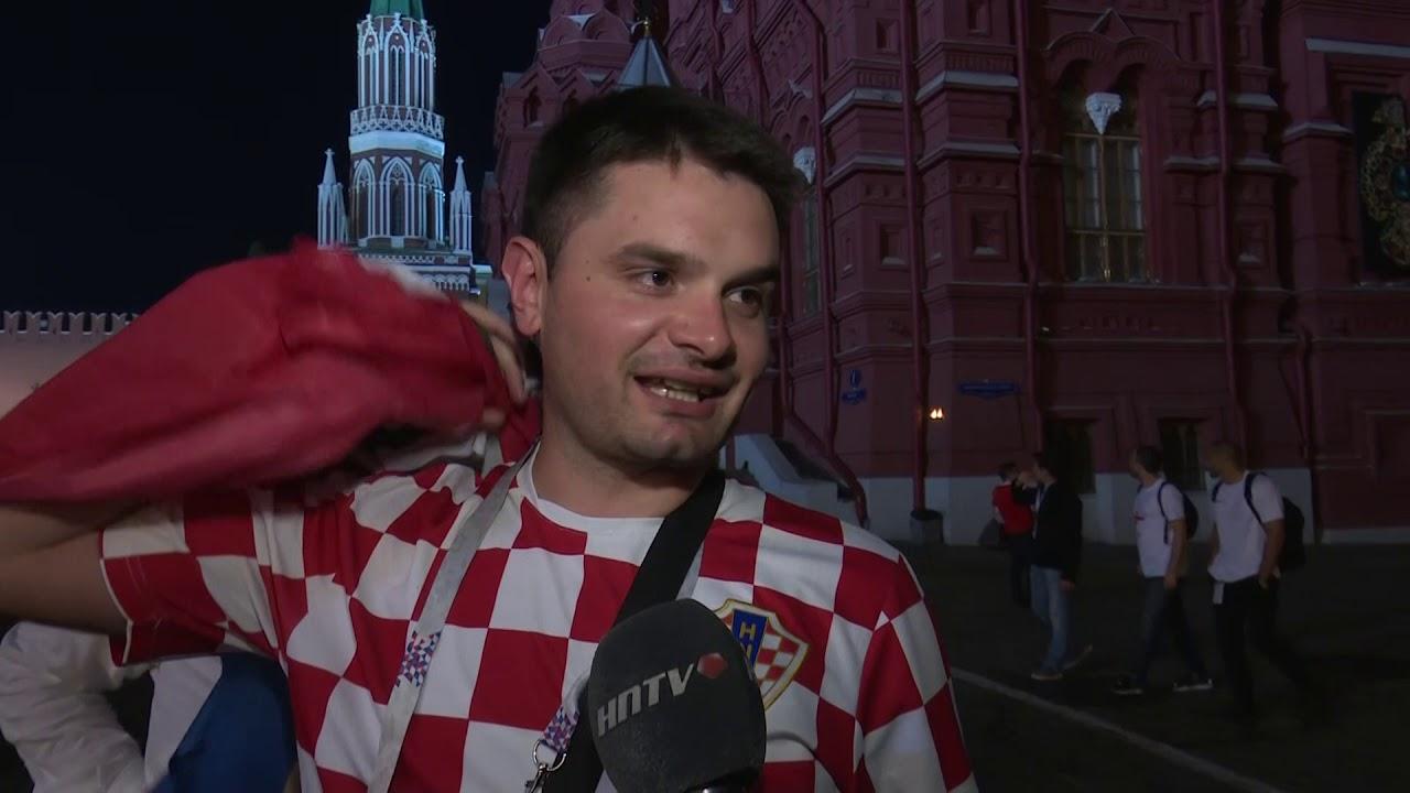 Hrvatski navijači slave pobjedu nad Engleskom u Moskvi