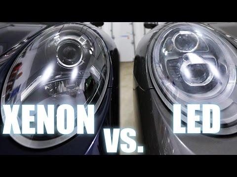 Xenon vs LED Porsche PDLS headlights  - also Halogen