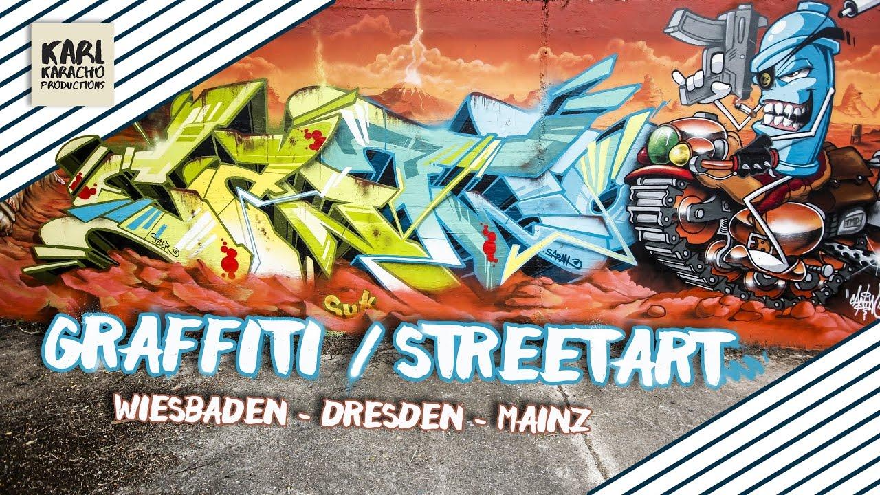 Streetart graffiti 2017 germany wiesbaden dresden mainz music by otr kyoto