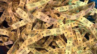 I won so many tickets at the arcade!