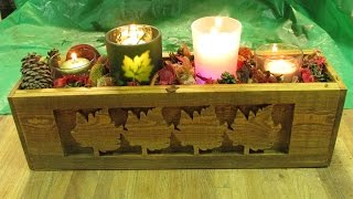 Fall Candle Holder Box, Recycled Pallet Wood