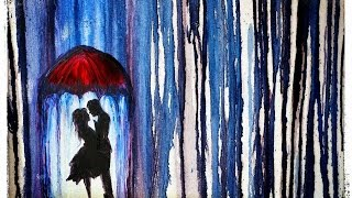 How to Paint LOVERS UNDER an UMBRELLA in the RAIN