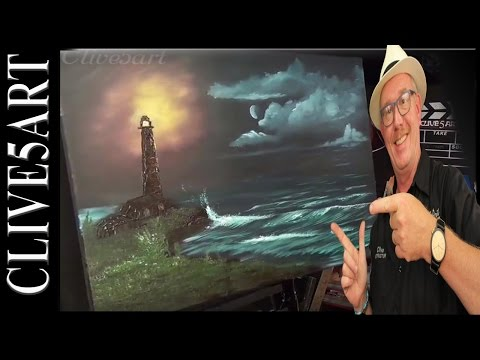 Light House | Seascape | Bob Ross Style | Acrylic painting for beginners,