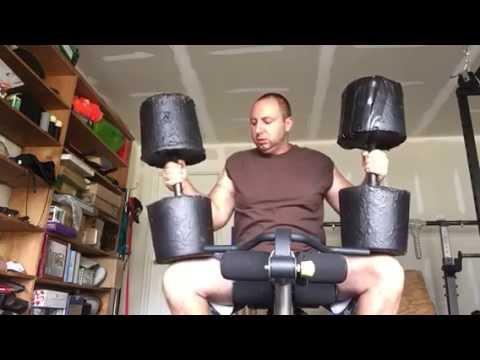 92lb+96lb concrete caveman dumbbell shoulder presses