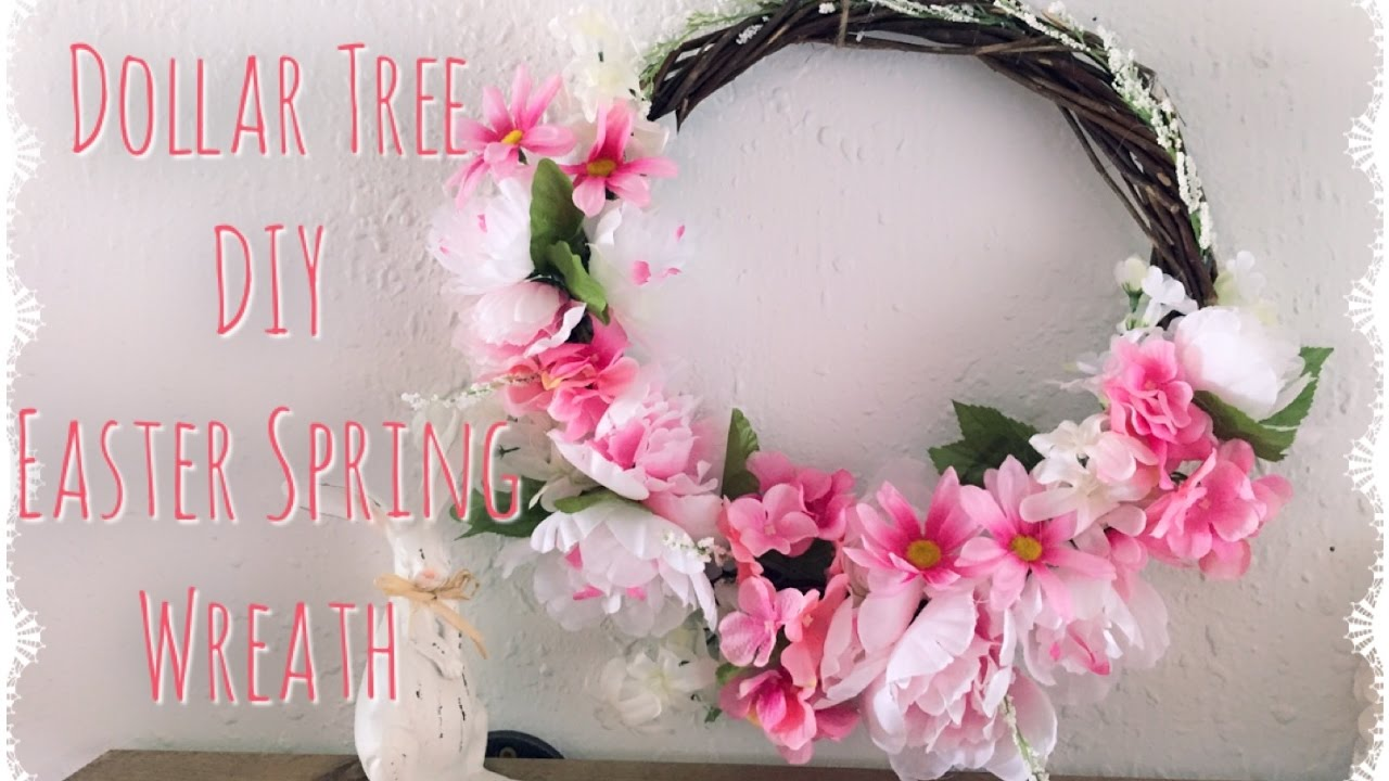 Dollar tree diy spring wreath youtube for How to make a spring wreath from scratch