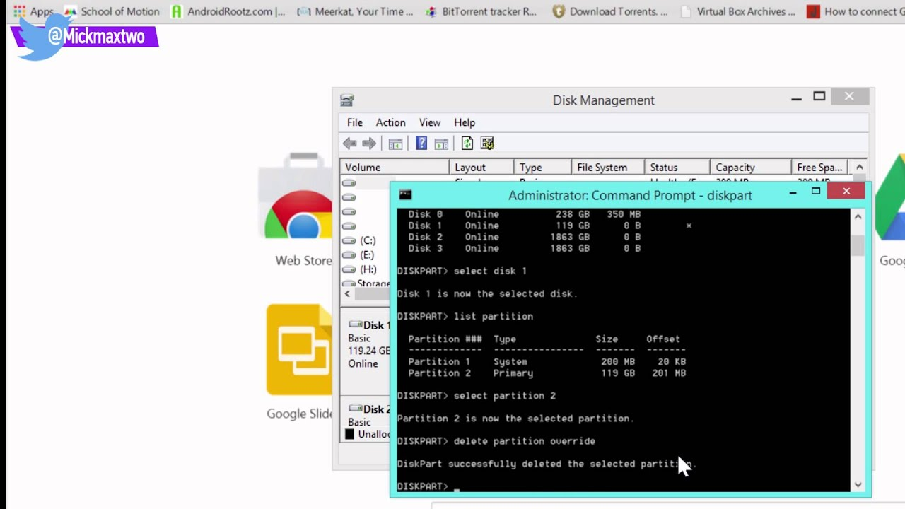 How to delete partition from command prompt
